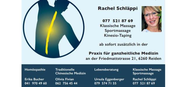 Neu: Massagepraxis mit Rachel Schläppi